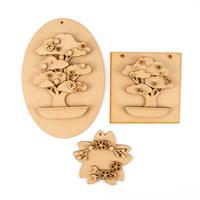 Olifantjie Japanese Bonsai and Cherry Blossom Set of 3 MDF Kits-860851