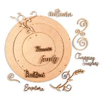 Bee Crafty MDF Collection - Circle Wreaths, Swirls & Words-861473