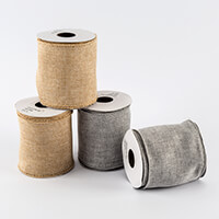 Craft Buddy 4 x 90mm Wired Jute Ribbon - 5 Yards Each - Neutral &-868225