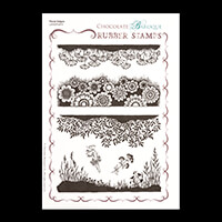 Chocolate Baroque Floral Edges A5 Stamp Sheet - 6 Images-878490