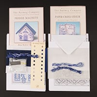 Nutmeg Blue Willow House Fridge Magnet & Card Cross Stitch Kit-878957