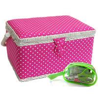 Sewing Online Medium Pink Polka Dot Sewing Basket-881967
