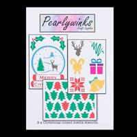 Pearlywinks 3 x A5 Christmas Stencils - Christmas Trees, Snow Glo-897703