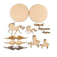 Samantha K Pegasus Set - Circle Plaques, Unicorn, MDF Words, 3 Pa-904916