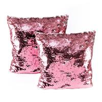 Set of 2 Pink to Silver Magic Sequin Cushions - 40x40cm Each-913227