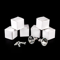Craft Buddy 6 x Clear Crystal Door Knobs With Silver Bases-917834