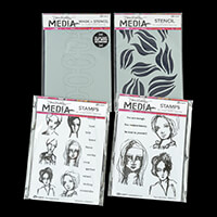 Dina Wakley Stamps & Stencils - All The Gals, Mod, Swirls & Face -918236