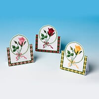 Nutmeg Cross Stitch Greeting Card Kit - Red, Pink and Yellow Rose-924321