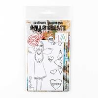 AALL & Create Stamp Set - Girlz with Heartz - 8 Stamps-935374