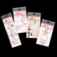 Woodware 4 x Stamp Sets - Nativity Silhouette, Santa Post, Snowma-941929