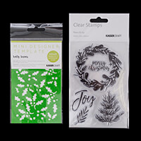 Kaisercraft Set of 5 Peace & Joy Clear Stamps with Holly Leaves M-943266