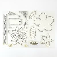 Which Craft? Set of 2 A6 Stamp Sets - Flora Art 2 and Poinsettia-945361