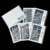 Claritystamp A5 Quintet Stencil Set - Towns and Hills, with Stora-945765