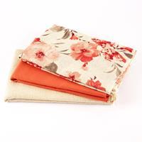 The Millshop Online - 3 x 100% Linen Fabrics - Red & Natural Coll-946177