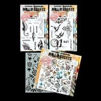 AALL & Create 2 x Stamp Sets and Stencil - Vintage Assorted, Unde-948536