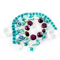 Green & Blue Jewellery Making Selection - 6 Strands of Assorted B-948699