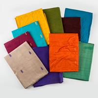 Fabric Freedom Pack of 10 Pure Silk Scarves - Assorted Colours - -951164