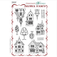 Chocolate Baroque Townhouses A5 Stamp Sheet - Includes 11 Images-953227