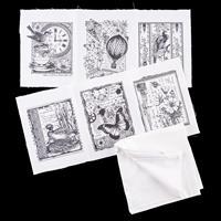 Crafty Individuals 6 White Printed Fabric Panels & Blank White Cu-955755