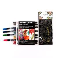 Kurecolor 12 x Fine & Brush Alcohol-Based Pens - Deep Colours & 1-959197