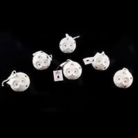 Set of 6 LED Ceramic Owls With Hanging Ribbon - Warm Light-978038