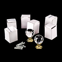 Crystal Maison 6 Clear Crystal 30mm Door Knobs with Gold Concave -981896