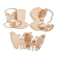 Daisy's Set of 6 MDF Steampunk Pieces - Butterfly, Top Hat and La-992619