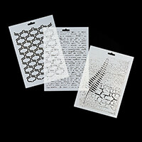 Imagination Crafts A4 Stencils - Script, Trellis and Crackled Fea-999099