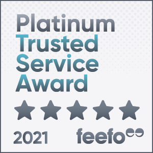 Platinum Trusted Service Award Badge - Provided By Feefo